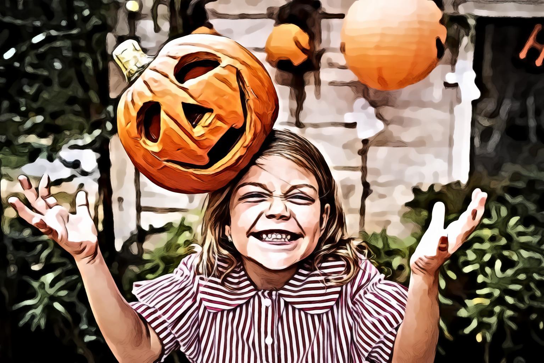 Orange Pumpkin on Girl's Head