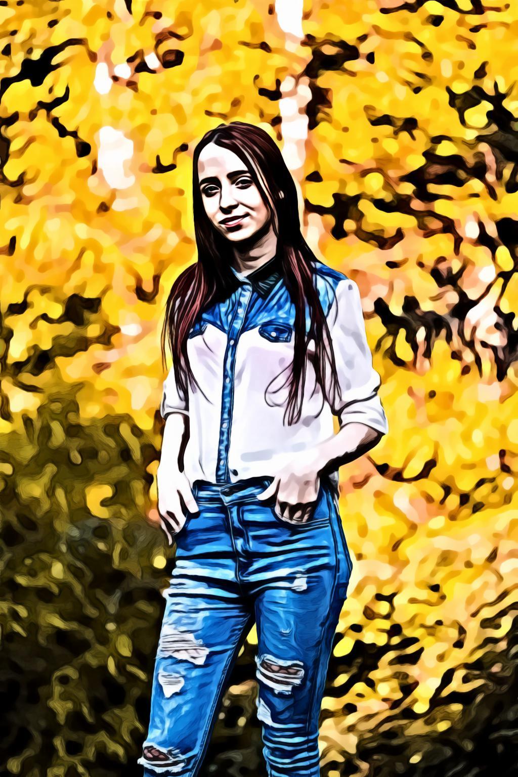 Brunette Woman In Blue Ripped Jeans