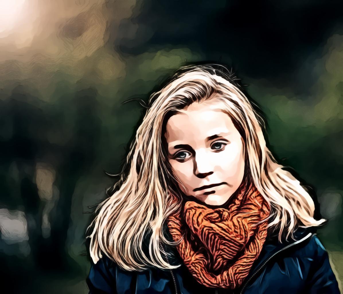 Girl Wearing Orange Scarf
