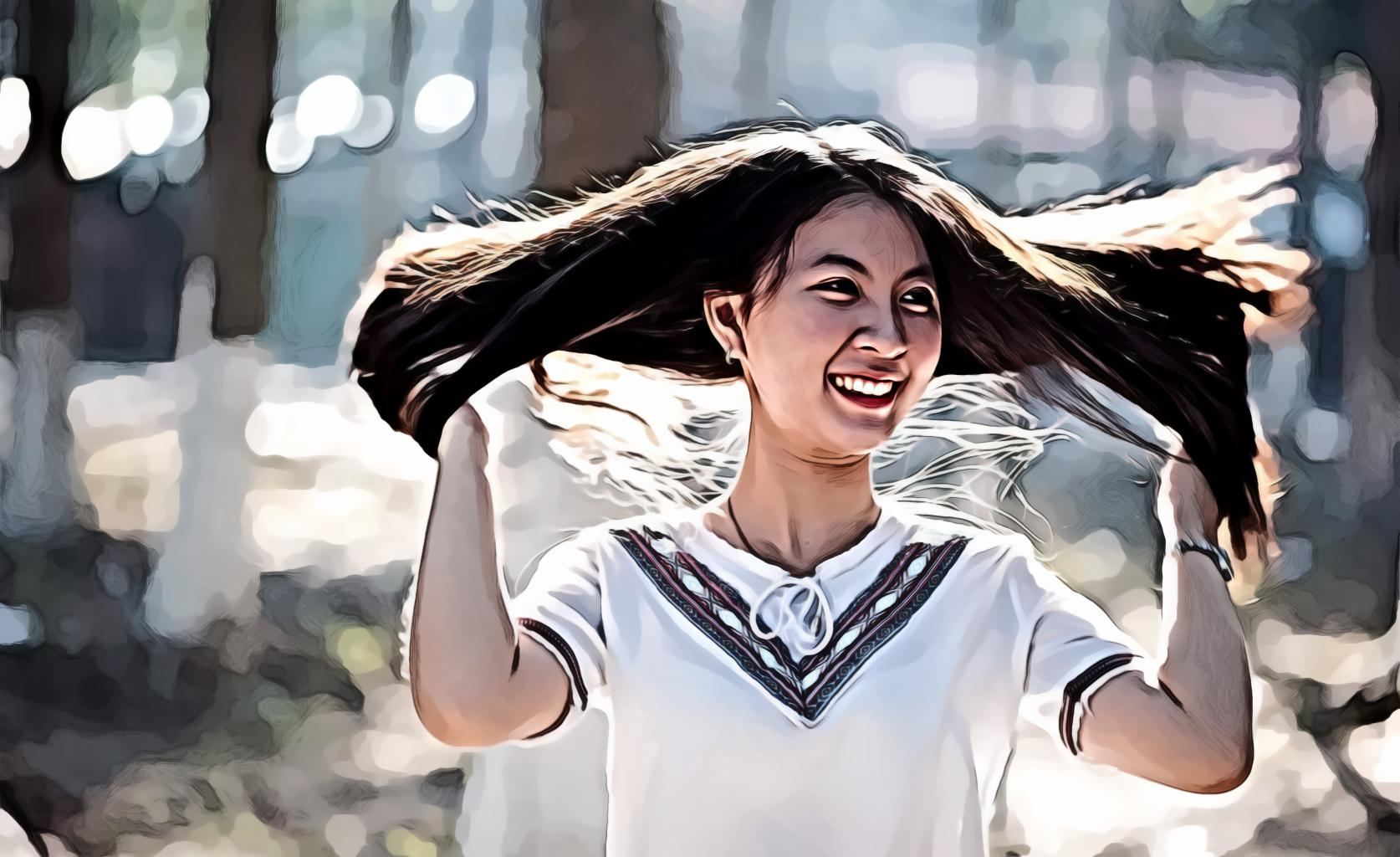Smiling Girl in White T-Shirt