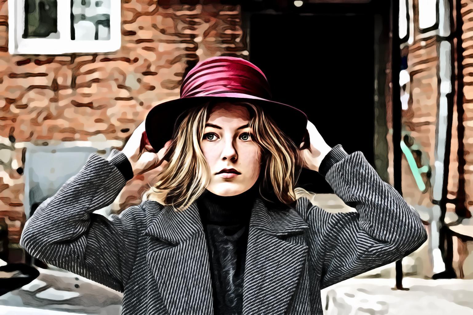Woman Wearing Purple Hat