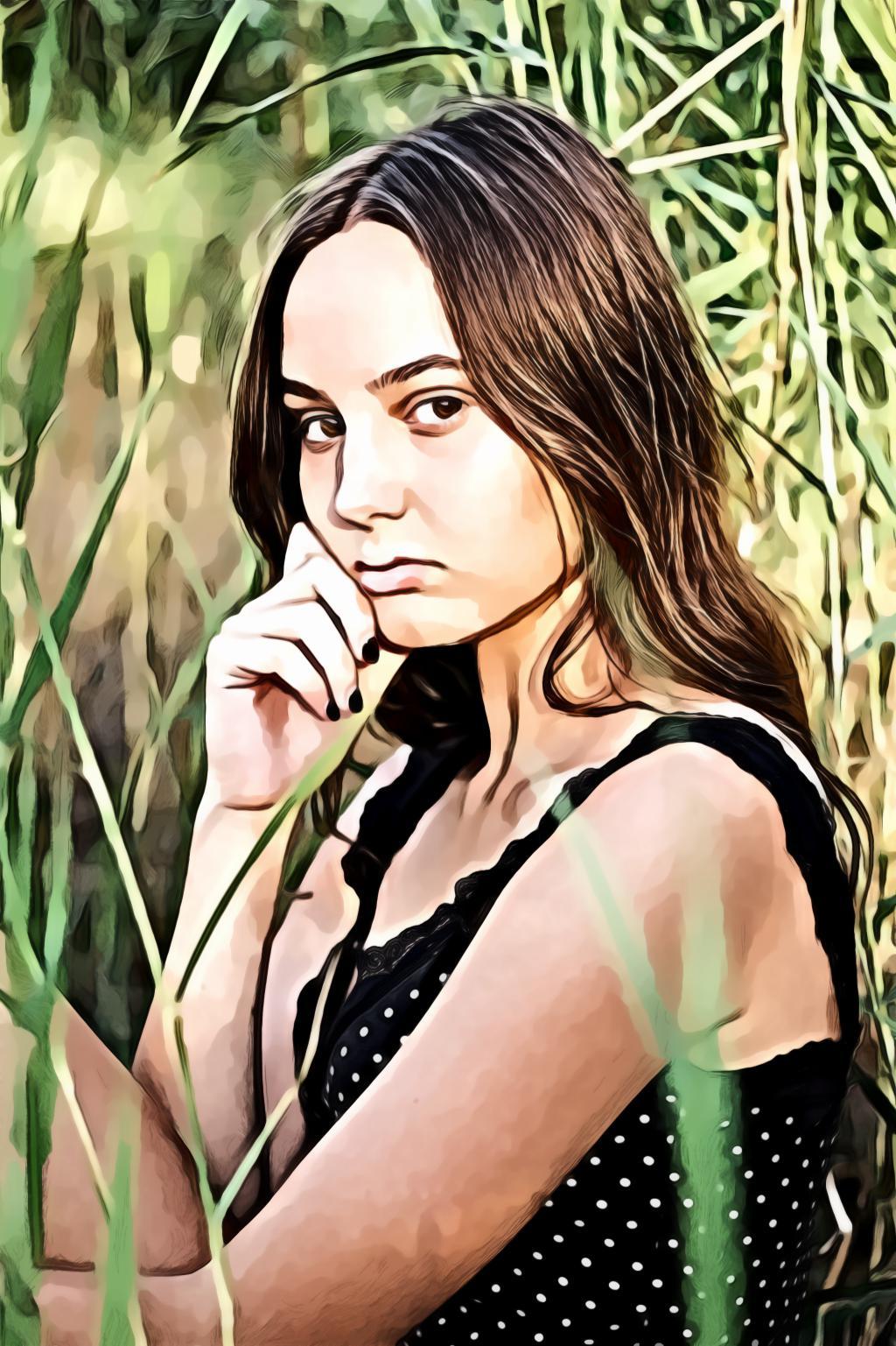 Close-Up Portrait of Girl Near Plants