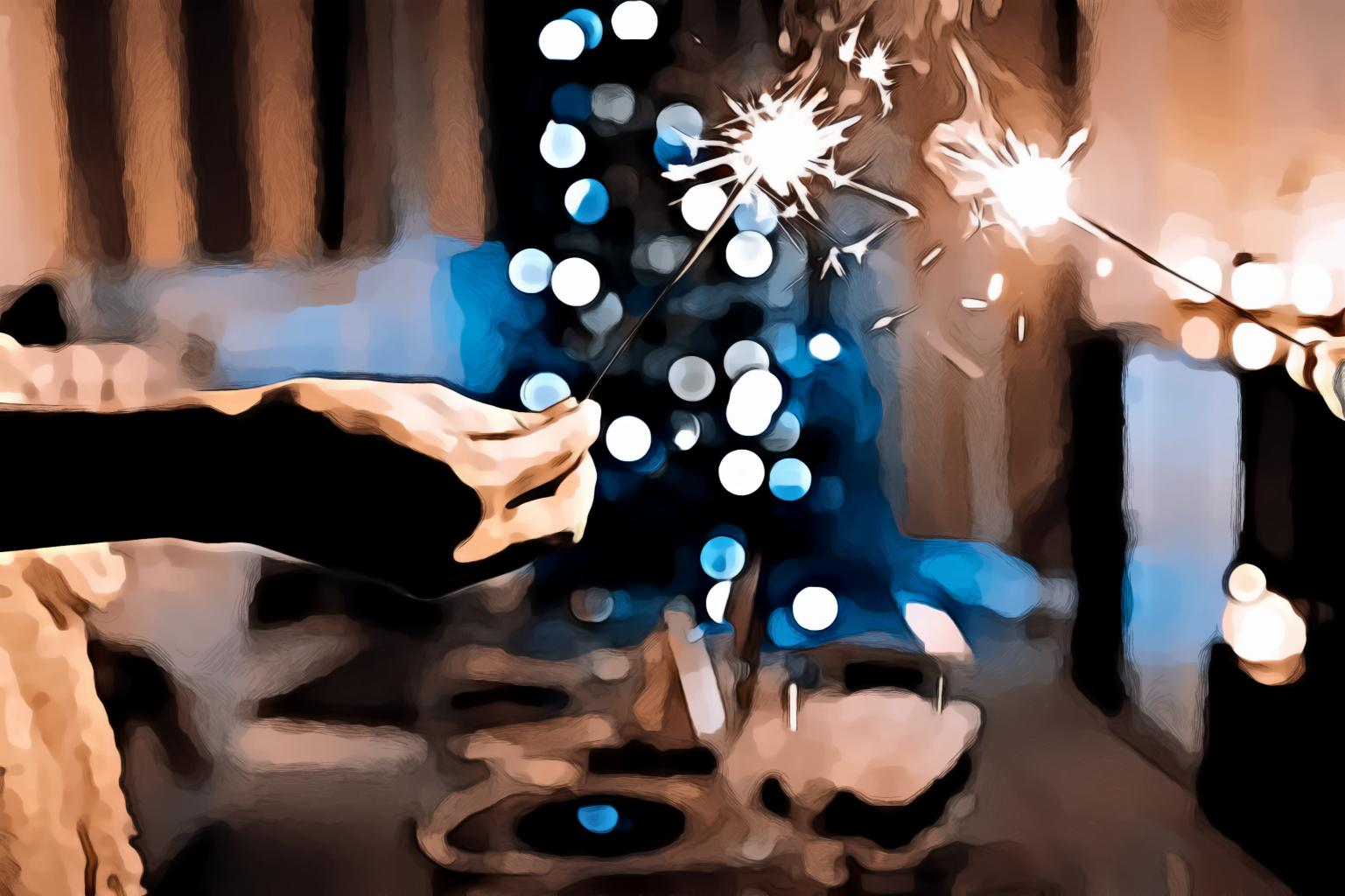 Two Person Holding Sparklers