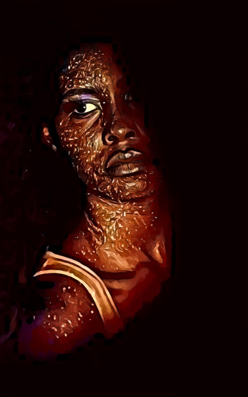 Fashion Portrait of Glitter Face Paint
