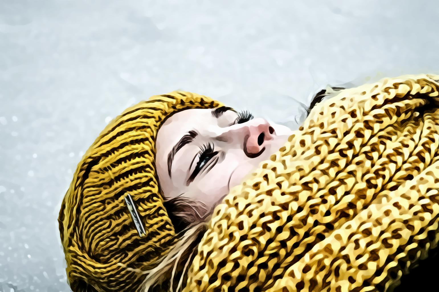 Woman Wearing Yellow Crochet Cap and Scarf