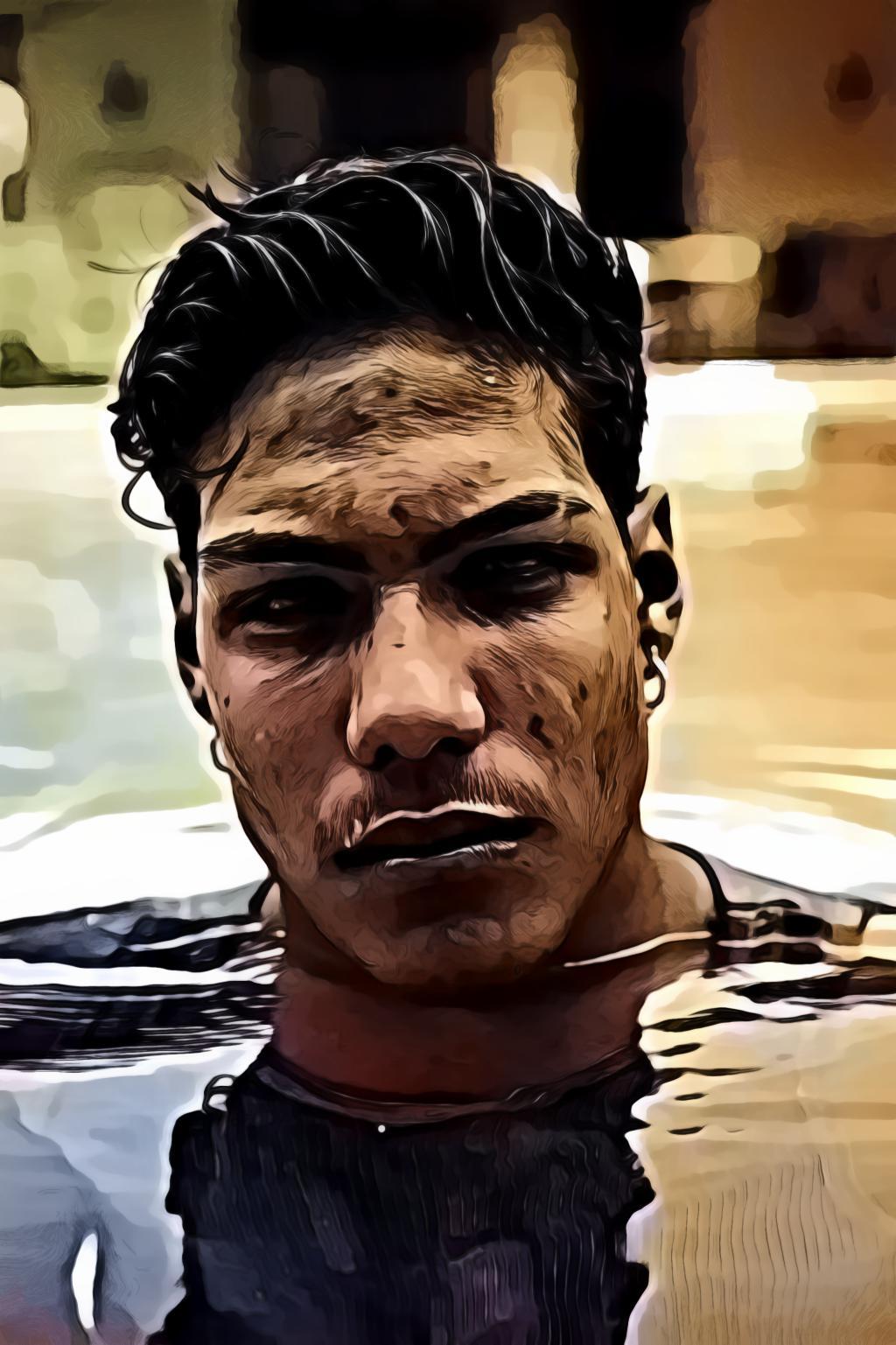 Man Standing In Swimming Pool