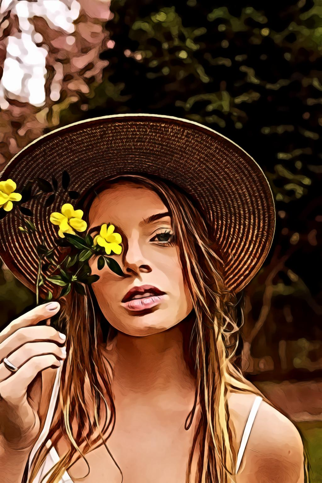 Woman in Wearing Straw Hat Holding Yellow Flowers Near Her Face