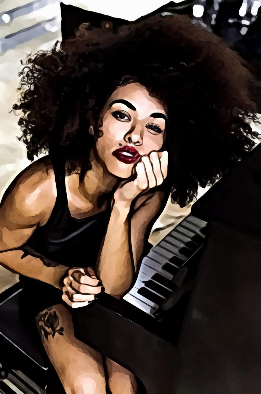 Woman Wearing Red Lipstick Sitting Near Piano