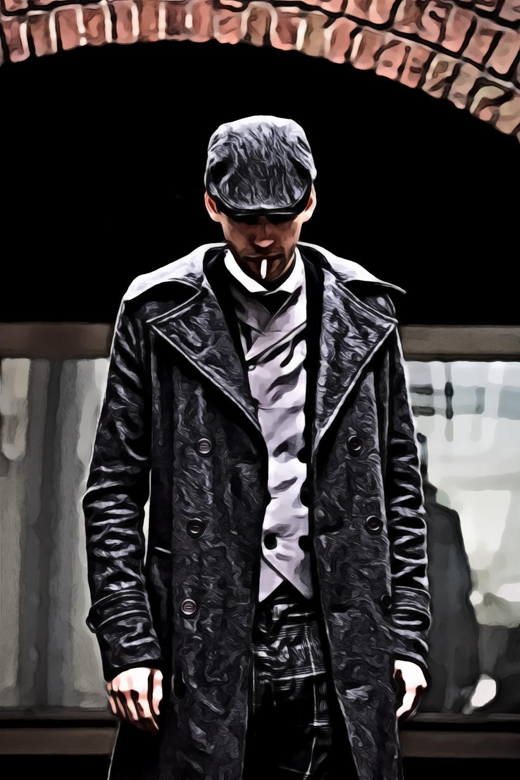 Man Wearing Gray Coat