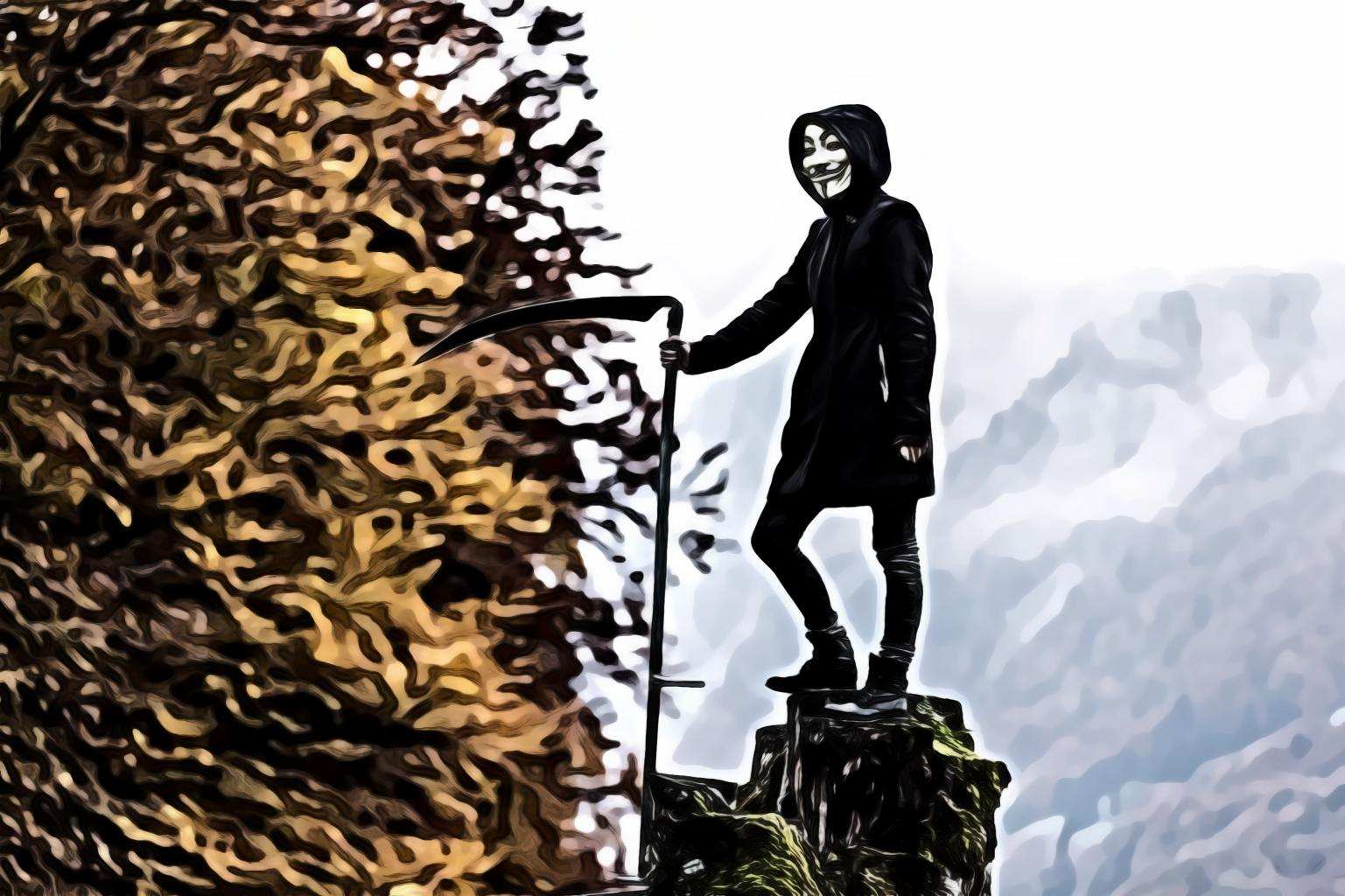 Person wearing guy fawkes mask while holding scythe