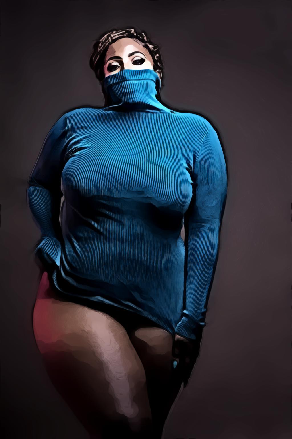 Woman in Blue Turtleneck Sweatshirt