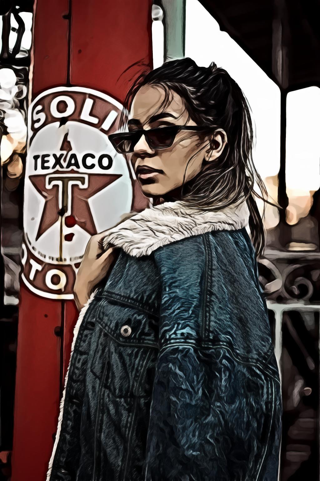 Woman Wearing Denim Jacket and Sunglasses