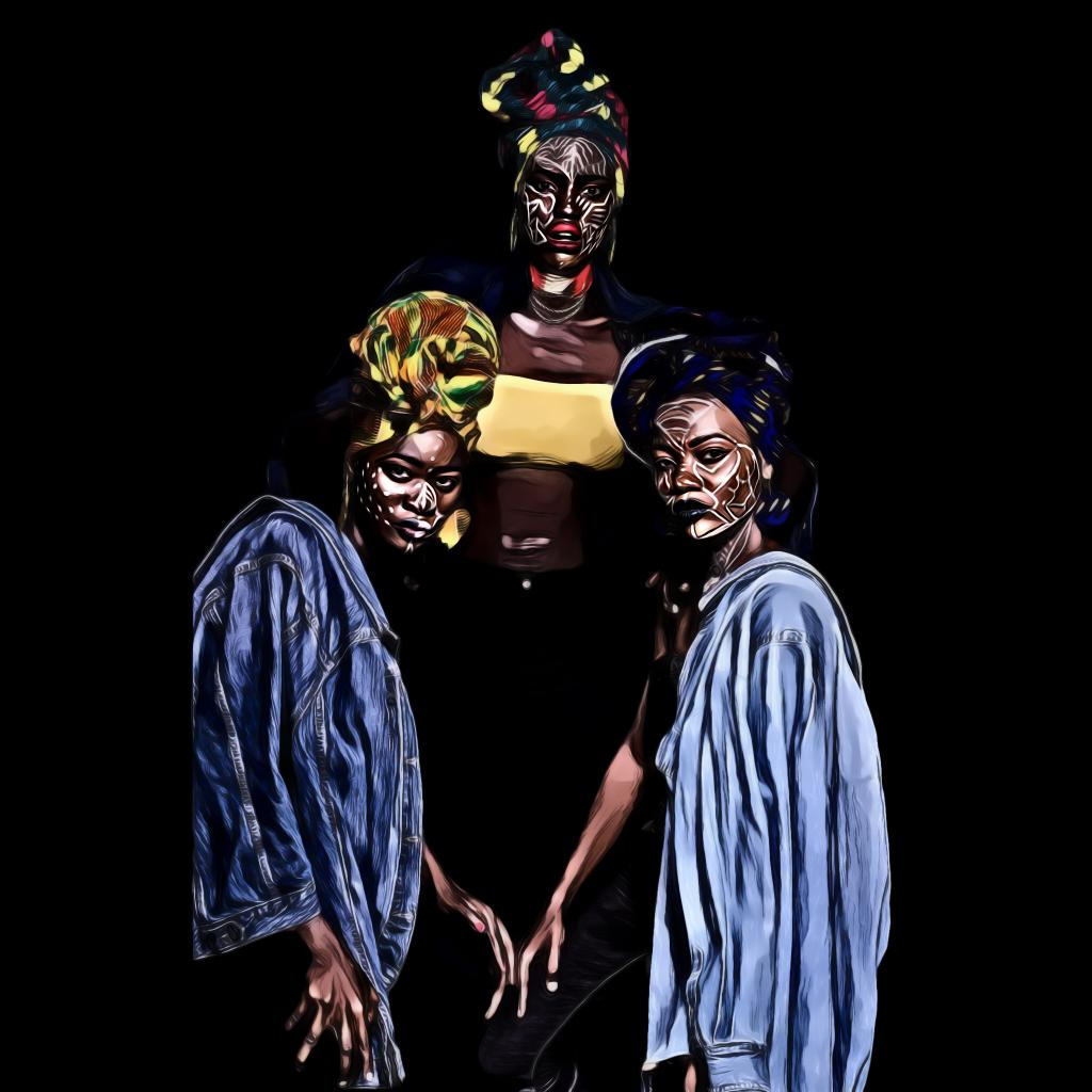 Three women with face paints