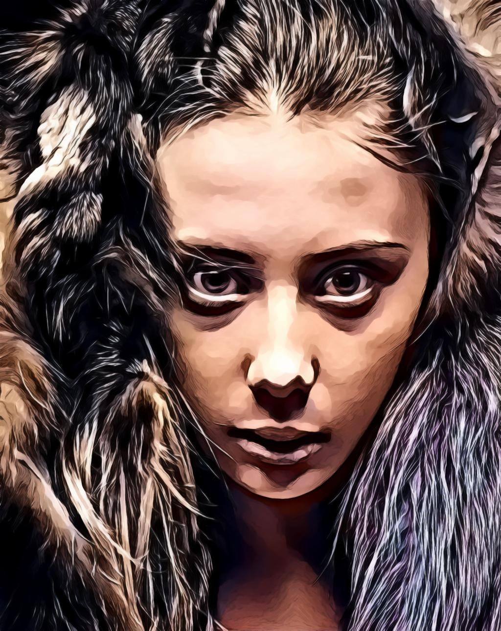 Woman's face surrounded with fur