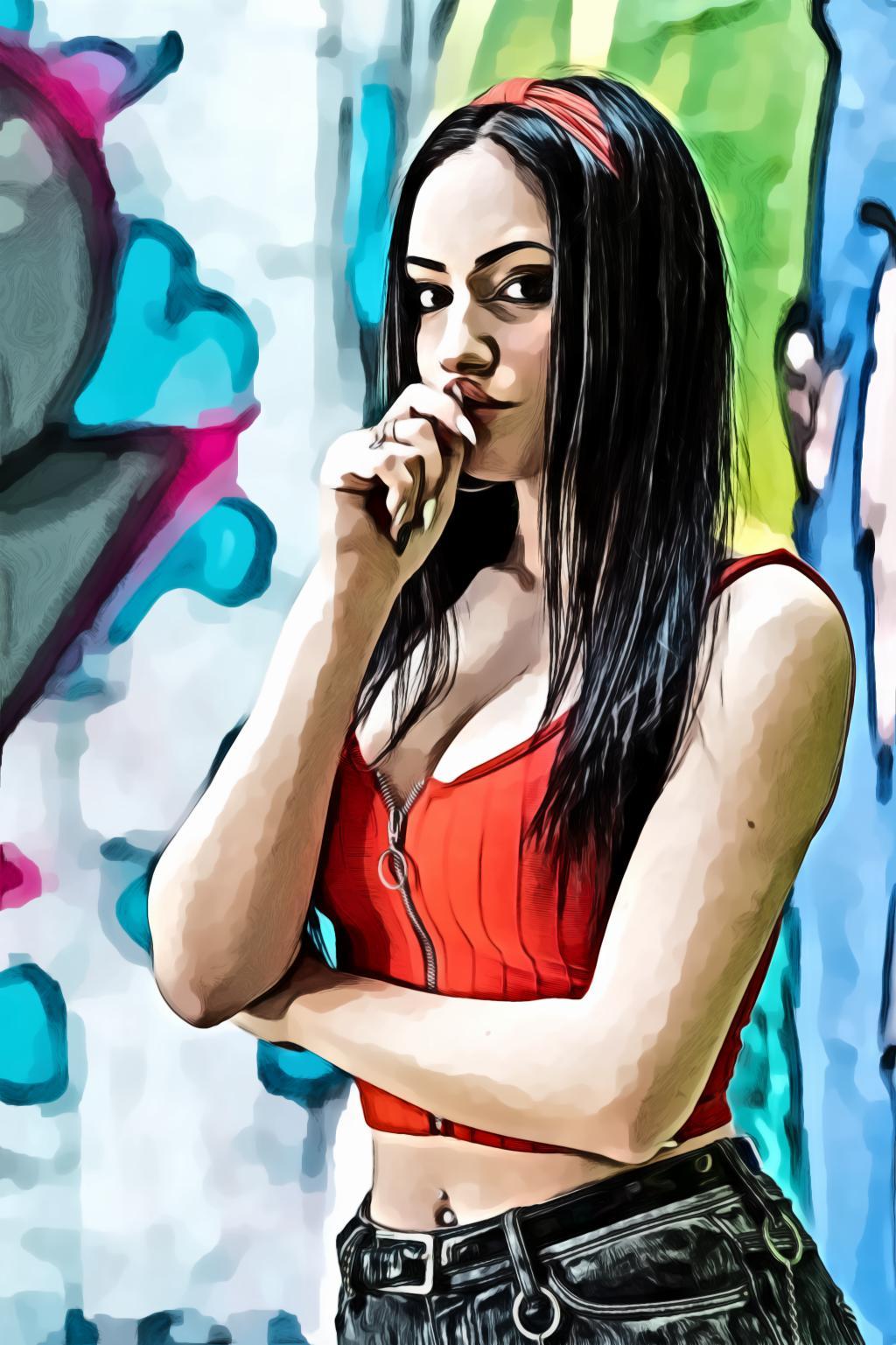Woman standing near graffitti