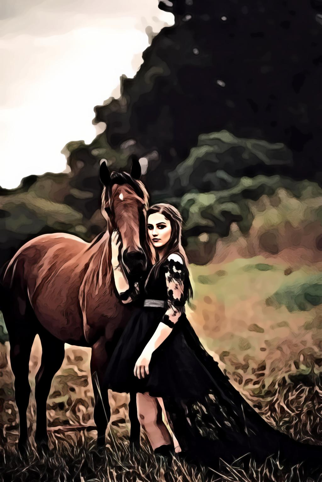 Woman wearing black dress beside horse