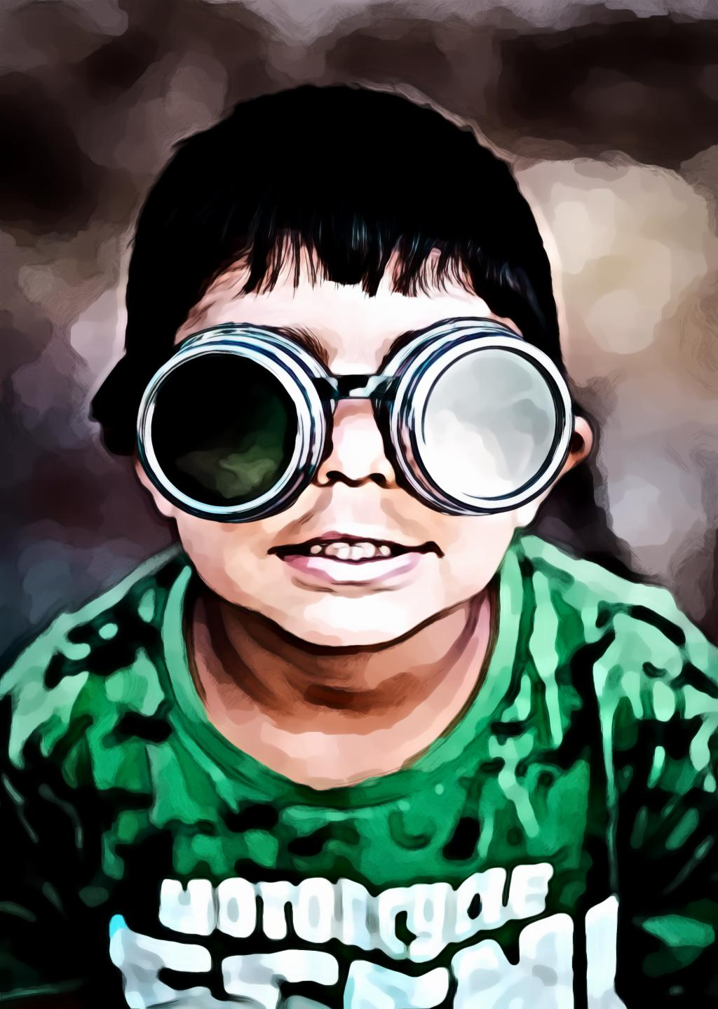 Boy wearing goggles