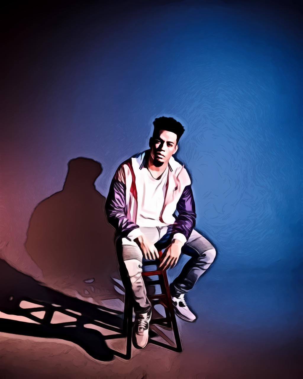Man sitting on brown stool