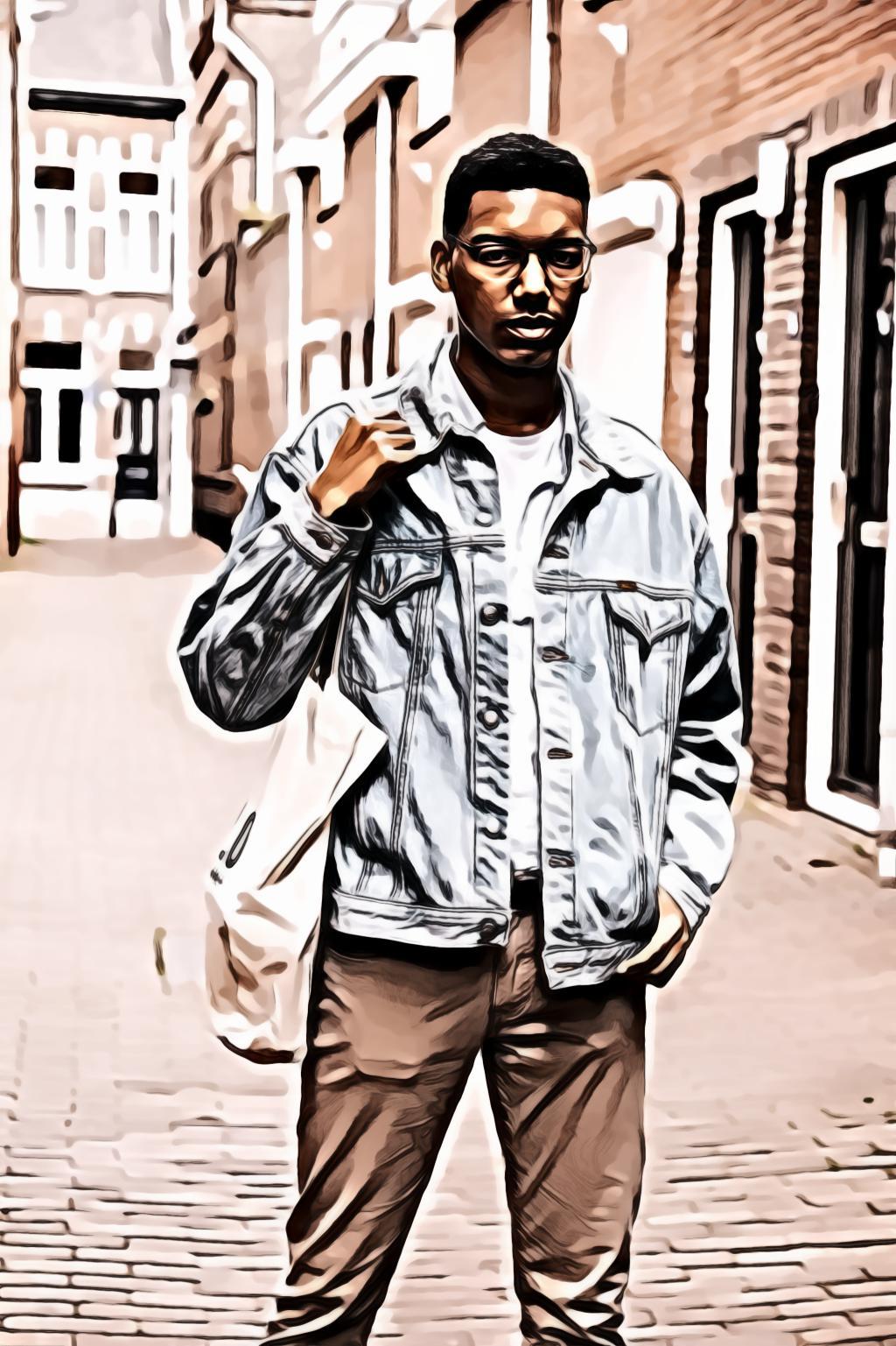 Man wearing gray denim jacket