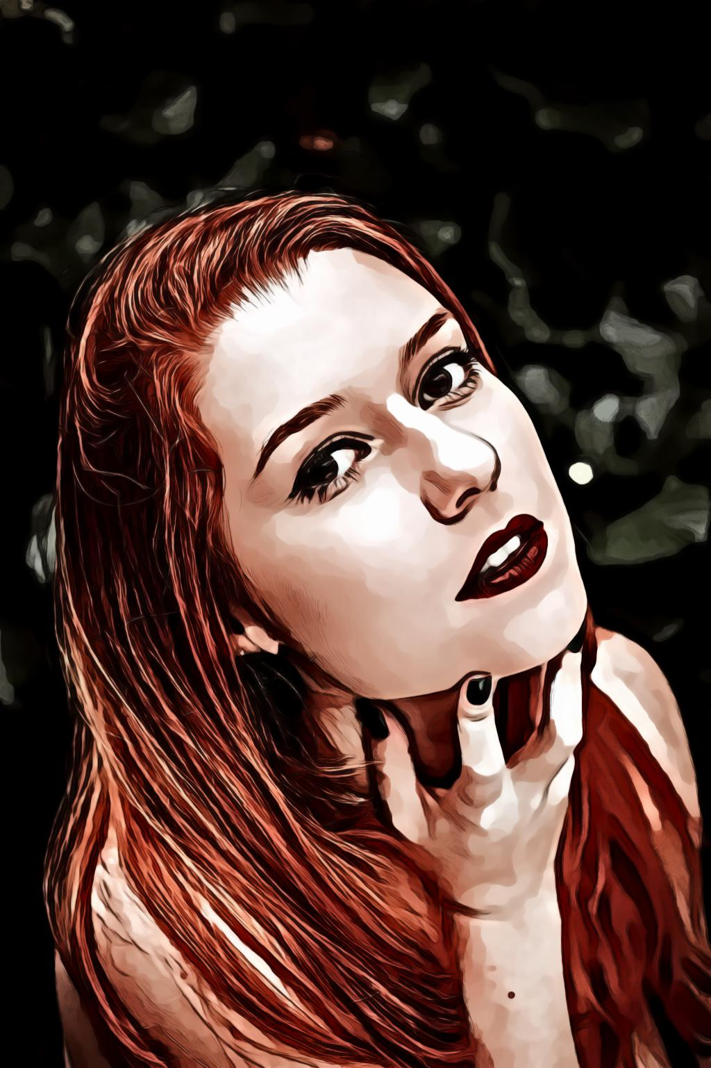 Redhead woman holding her chin