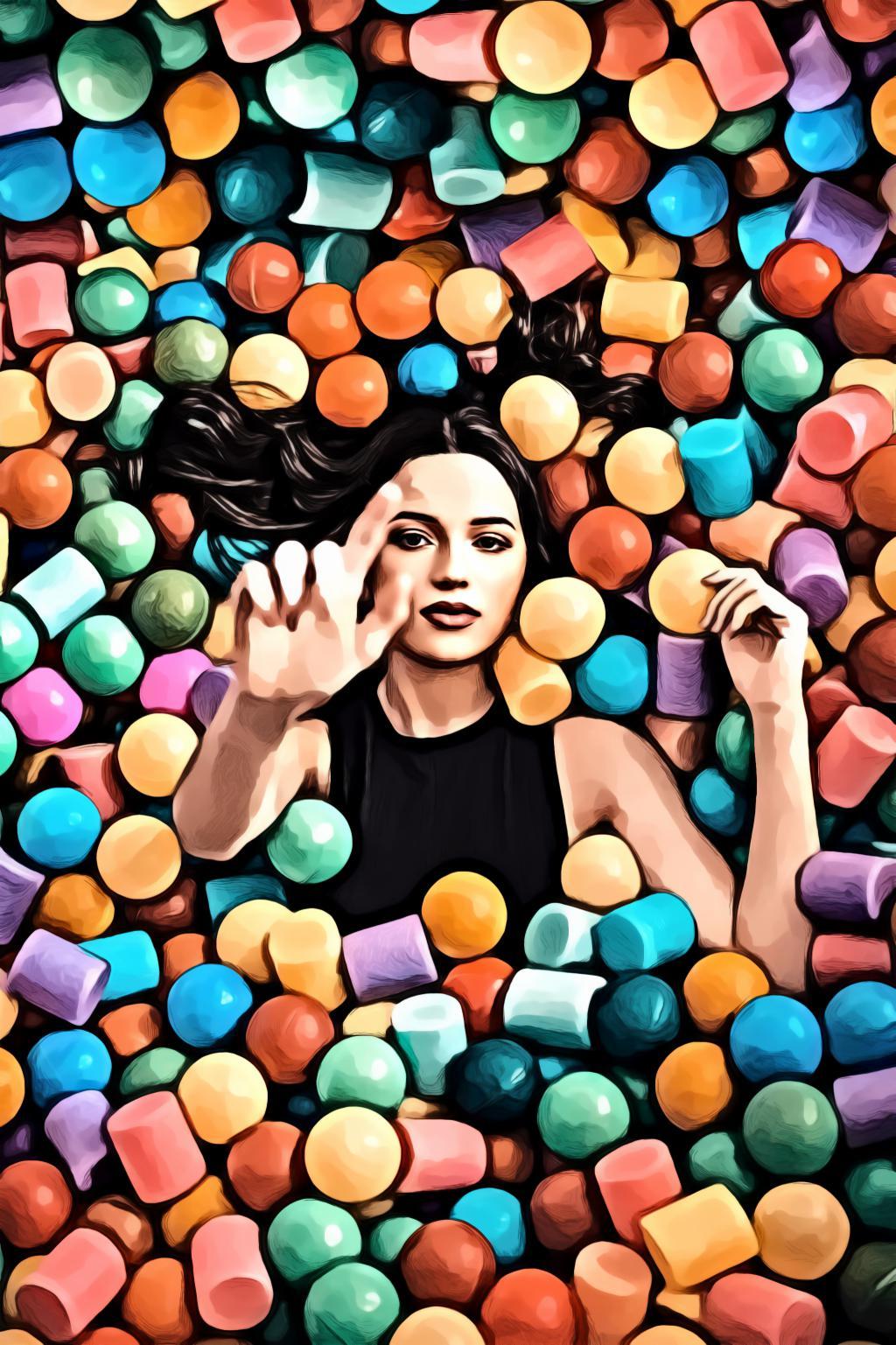 Woman on plastic balls