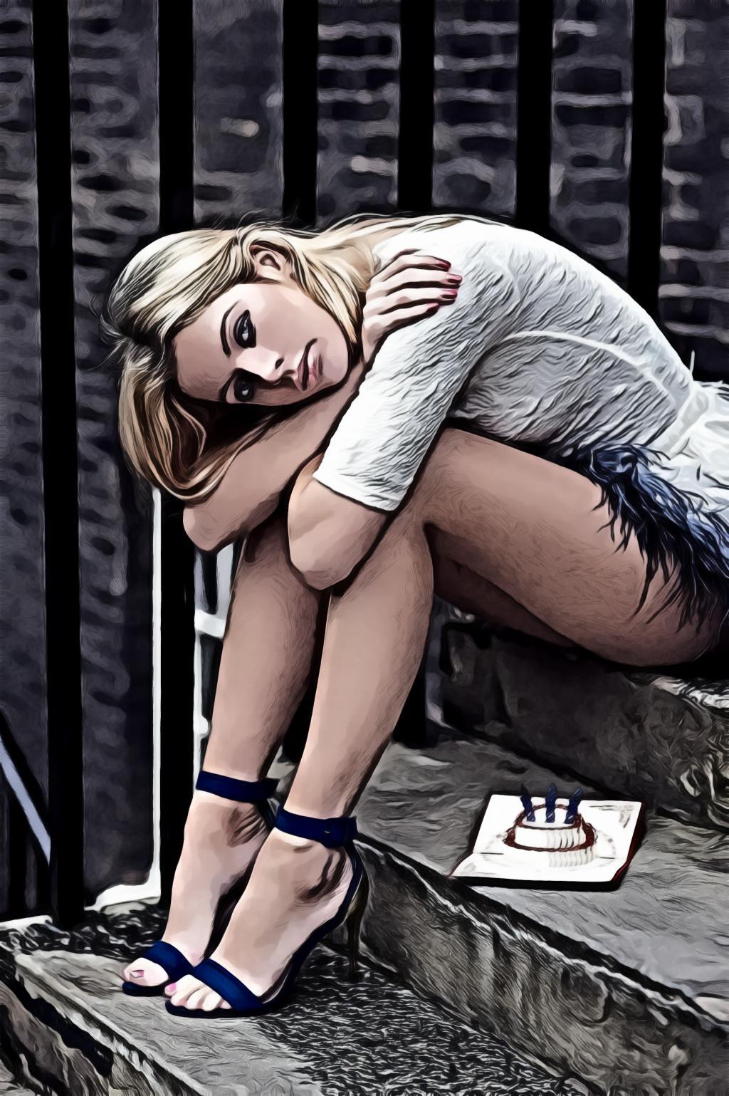 Woman wearing blue high heels