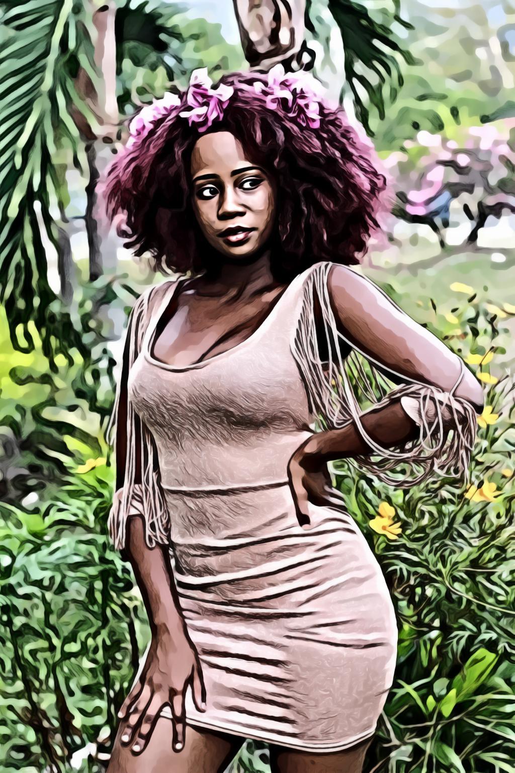 Woman with burgundy curly hair wearing beige sleeveless tasseled bodycon dress