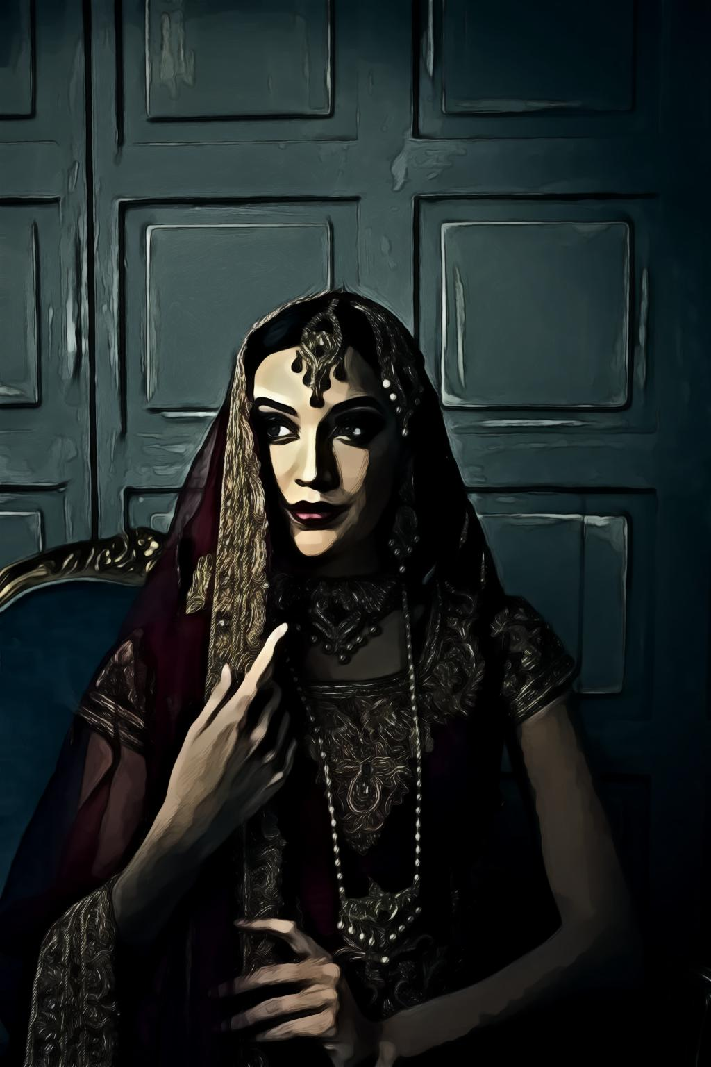 Portrait of woman wearing red sari