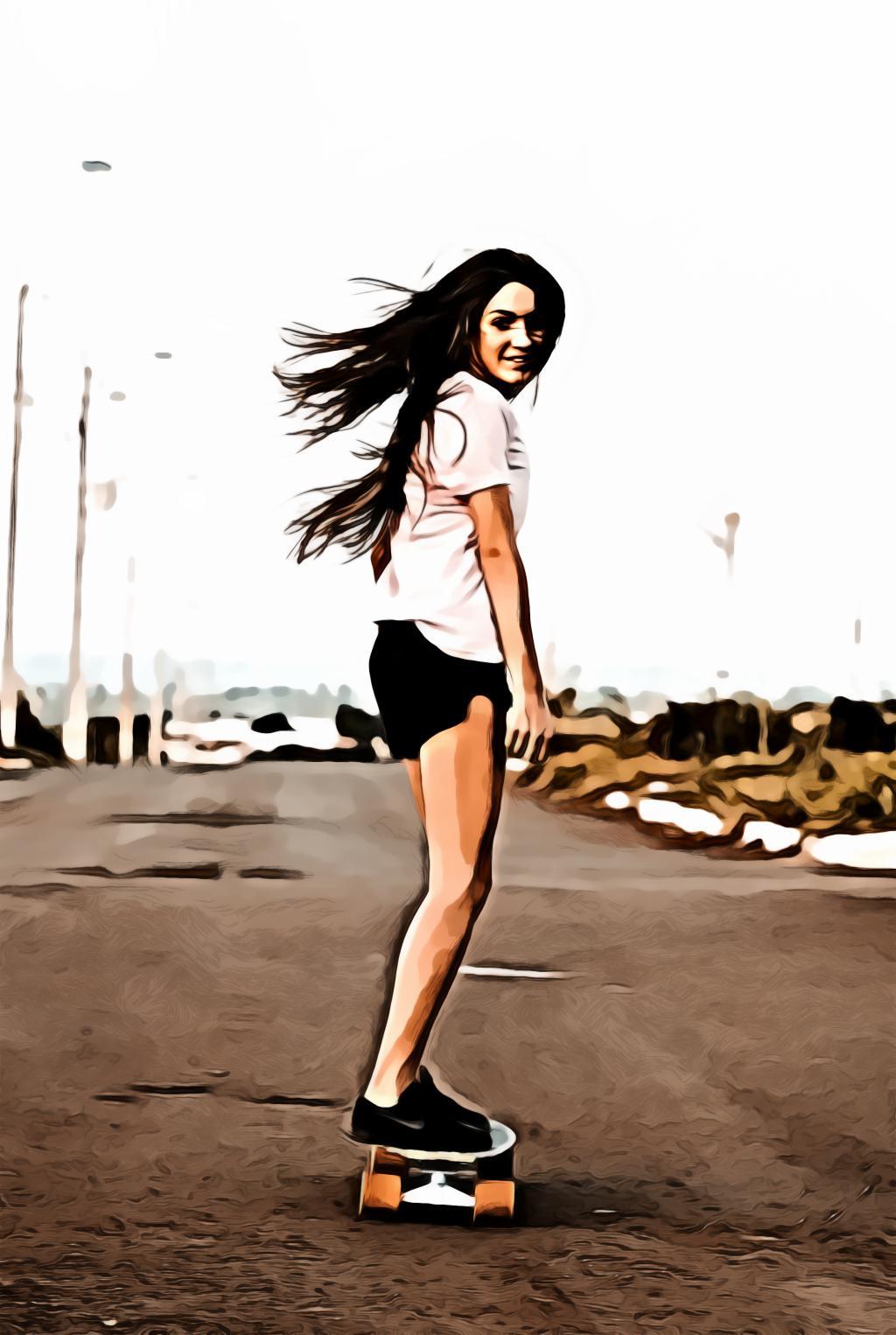 Woman riding skateboard at the road