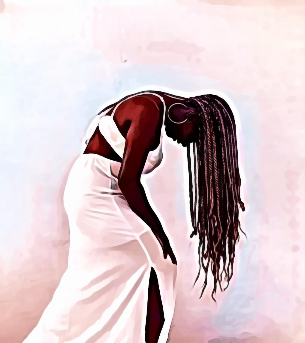Woman wearing white dress bending down
