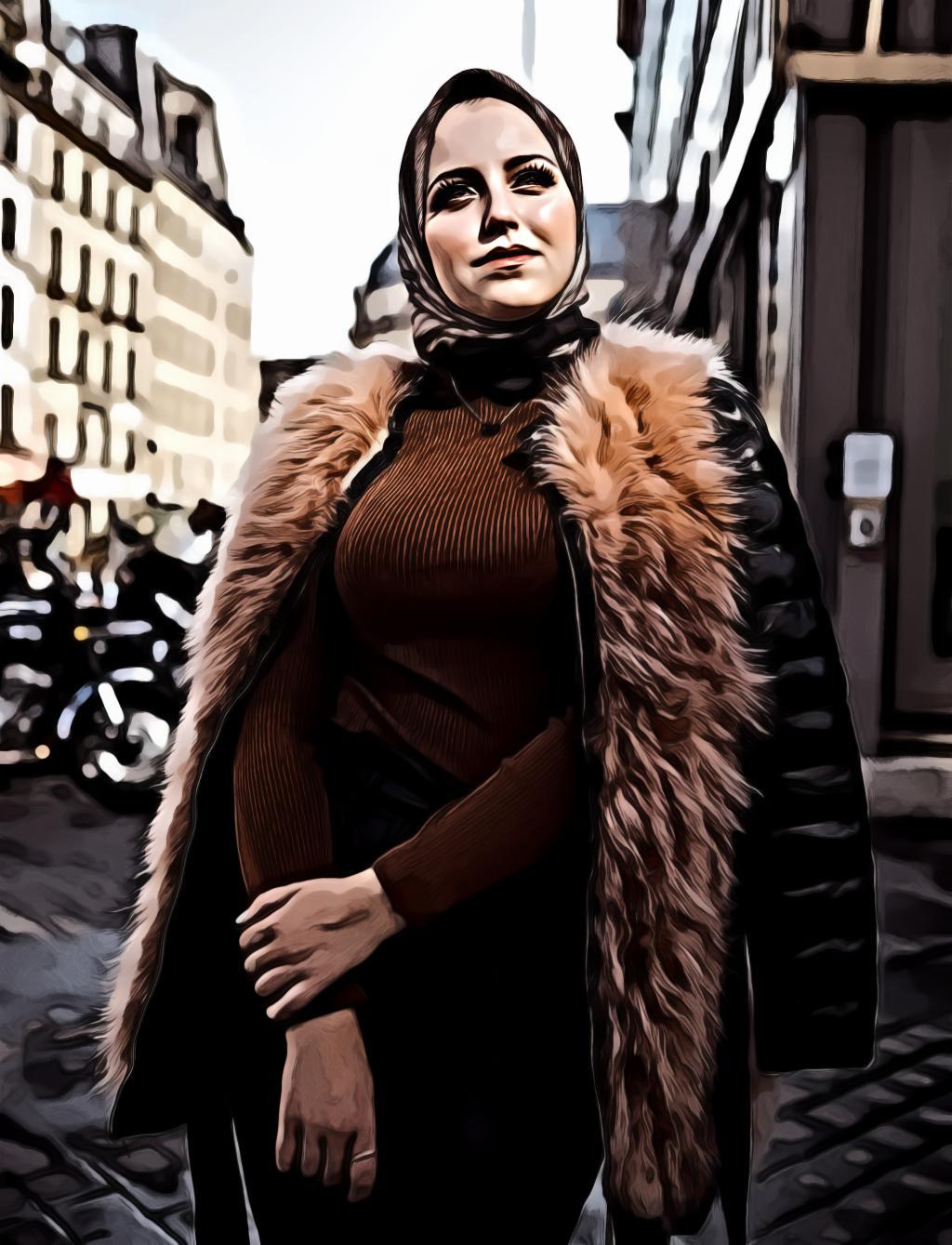 Women s black and brown furline jacket